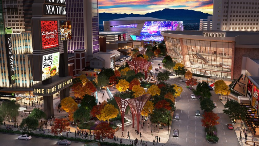 Bars and restaurants will line The Park, a new pedestrian walkway that will link the Strip with the new T-Mobile Arena, to the rear of this artist's rendering. It will open in early April.