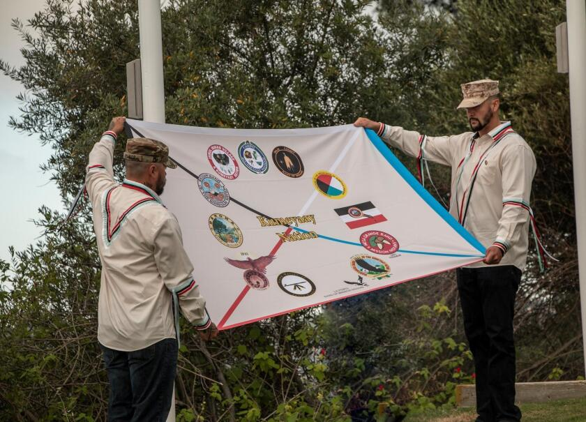 Closeup of the flag representing 12 tribes of the Kumeyaay Nation. Four flags — American, Kumeyaay, Spanish and Mexican — now fly together at Presidio Park in San Diego.