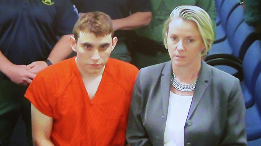 Suspected school shooter Nikolas Cruz makes a video appearance in court on Thursday with Melisa McNeill, a public defender.