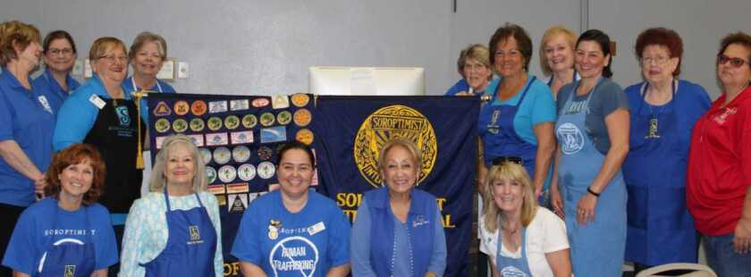 Soroptimist International of Vista and North County Inland held its annual Salad Luncheon fundraiser, which drew 150 community members to the venue at Grace Presbyterian Church in Vista. Volunteers helped serve salads, baked potatoes and toppings along with desserts. Volunteers included Vista firefighters and Vista City Council members Corinna Contreras and Joe Green. Proceeds from the event go to scholarship grants for women. Soroptimist members (from left, rear) Runa Gunnars, Lani Beltrano, Sherry Luz, Kaye Van Nevel, Allison Metzler, Nelly Jarrous, Judy Gregorie, Dusty Hill, Ardis McAndrew and Jennifer Luz-Olson. Front: Aleta Dirdo, Pat Origlieri, Assly Sayyar (president), Cherie Wilson and Jackie Piro Huyck. Visit soroptimistvista.org and liveyourdream.org.