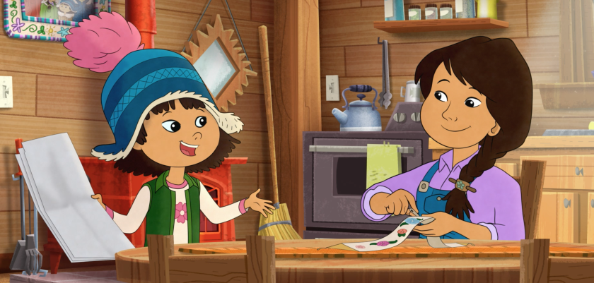 "Molly and her mom at the trading post on PBS Kids' ""Molly of Denali."""