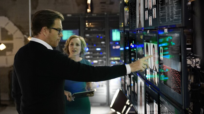 "Michael Weatherly and Geneva Carr are high-tech ""trial scientists"" in the new CBS legal procedural ""Bull."""