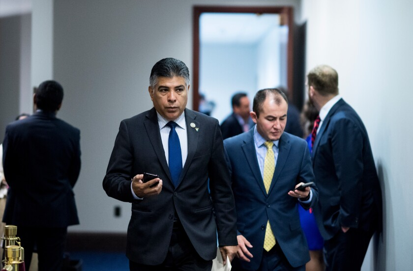 Rep. Tony Cárdenas (D-Los Angeles) leaves the House Democrats' caucus meeting in the Capitol in June.