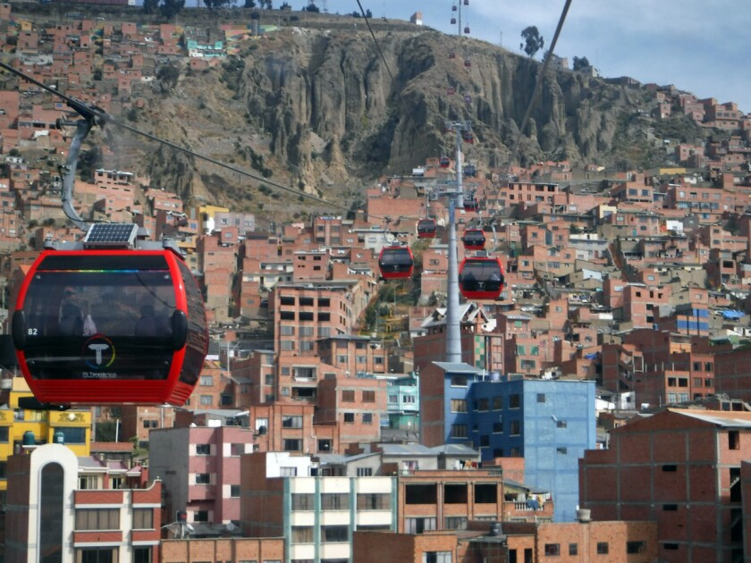 La Paz's public transportation system Mi Teleferico features color-coded gondolas that have solar panels that supply power for lights, doors and Wi-Fi.