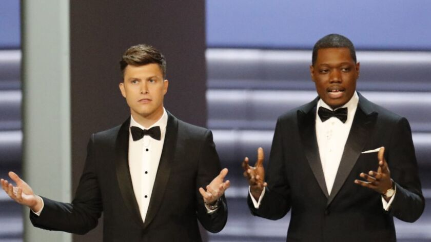 LOS ANGELES, CA., September 17, 2018: ? Hosts Colin Jost and Michael Che during the show at the 70th