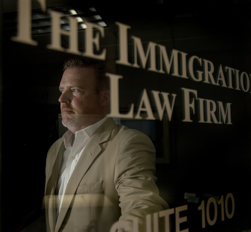 BLAINE, WA - OCTOBER 8, 2018: Immigration attorney Len Saunders of Blaine, Washington is represent