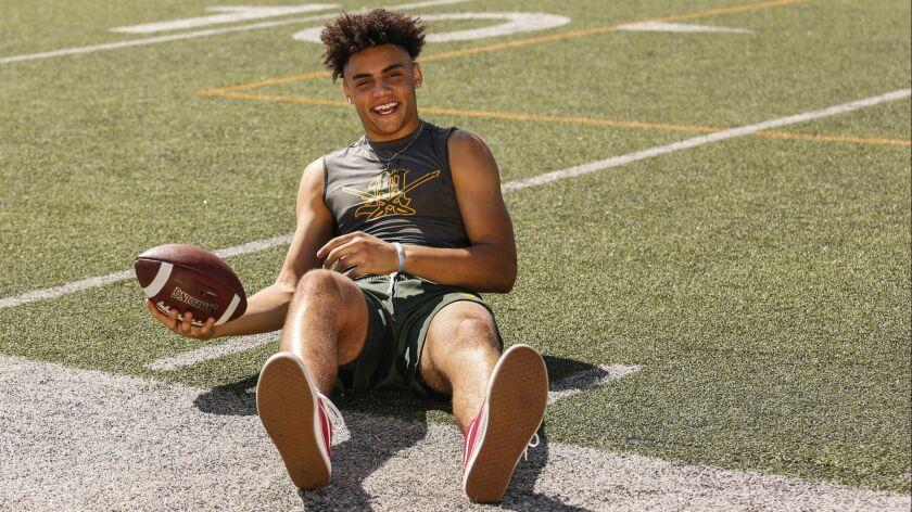 Moorpark's Drake London signed his letter of intent with USC on Wednesday.