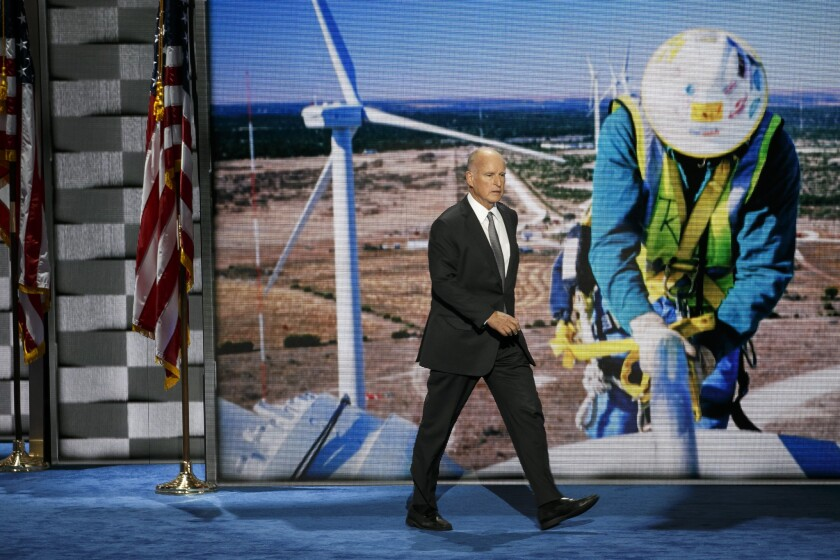 Gov. Jerry Brown, pictured here at the Democratic National Convention last year, has pushed for a re