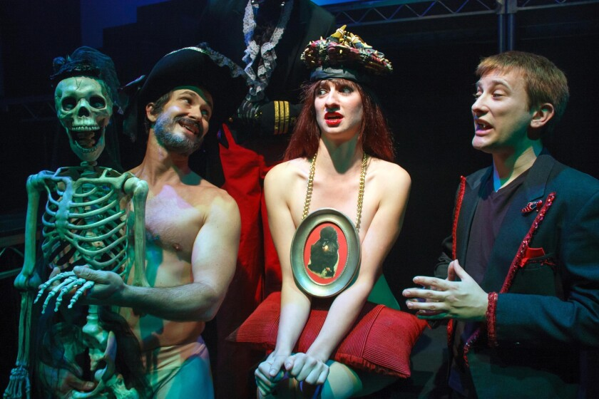 "Justin Davanzo, left, Kristin Drager and Jeffrey Gardner in ""Moskva"" at City Garage."