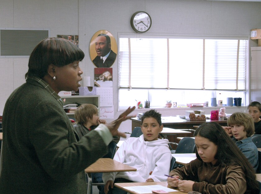 San Marcos Middle School teacher Valerie Harris taught a class about Black History month in 2006.