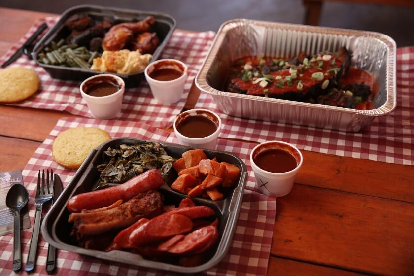 Dinner plates at John Mull's Meats & Road Kill Grill in Las Vegas.