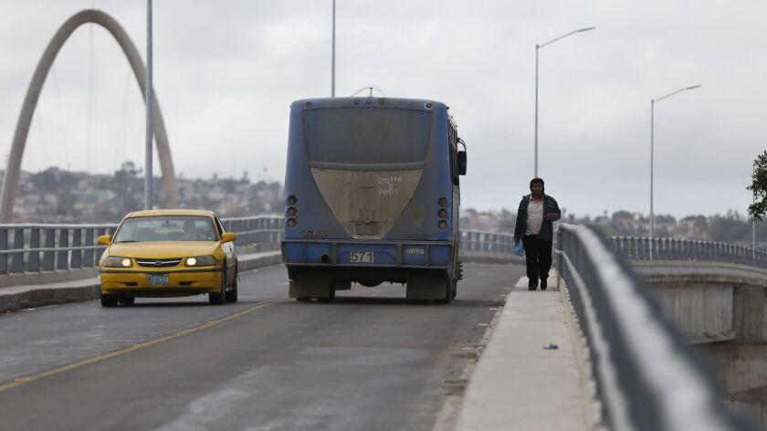 The bridge where Guadalupe Olives Valencia, 44, fell to his death near the Tijuana-San Diego border crossing.