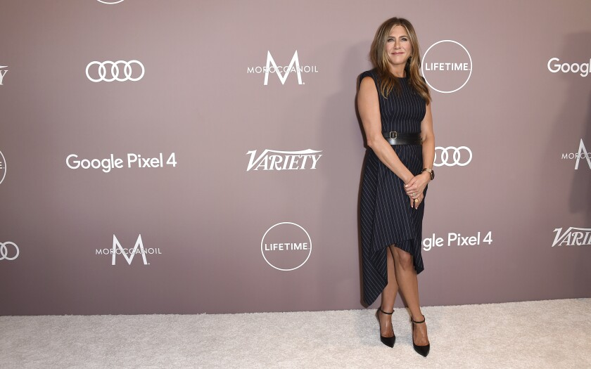 Jennifer Aniston arrives at Variety's Power of Women on Friday, Oct. 11, 2019, at the Beverly Wilshire hotel in Beverly Hills, Calif. (Photo by Jordan Strauss/Invision/AP)