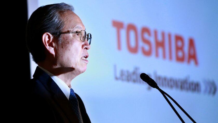 Toshiba Corp. President Satoshi Tsunakawa speaks during a press conference at the company's headquar