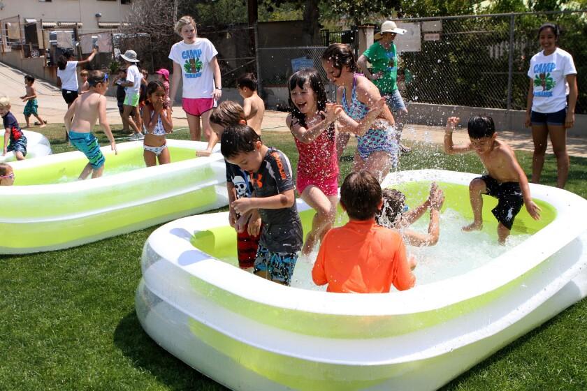 Kids have a pool party at Camp Runamuk