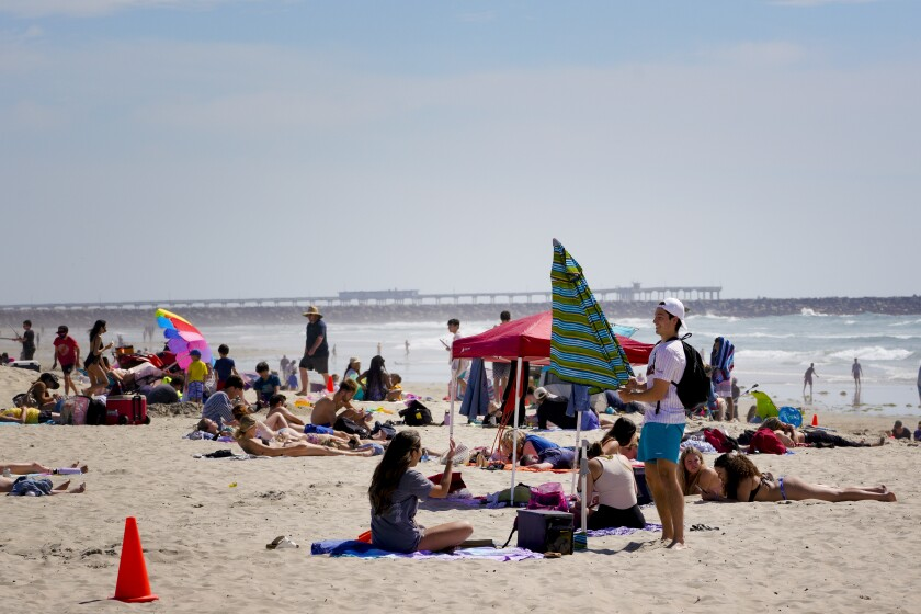Wednesday's sunny weather certainly made Mission Beach the popular place to be on April 7, 2021 in San Diego, CA.