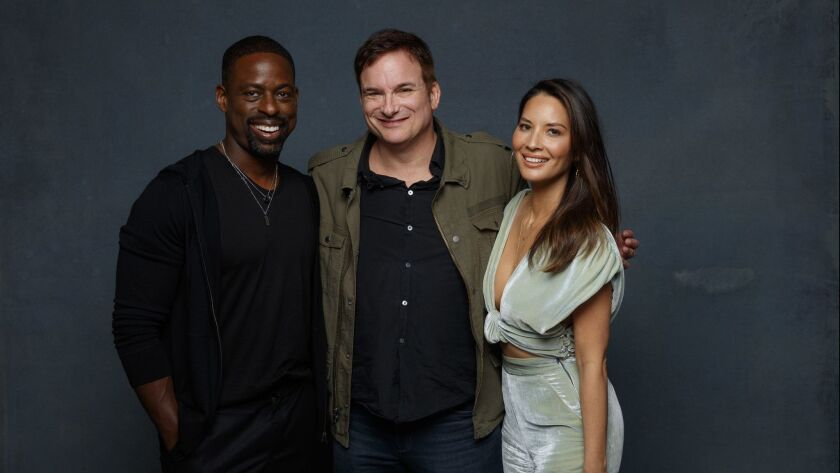 """SAN DIEGO, CALIF. -- JULY 19, 2018-- Sterling K. Brown, Shane Black and Olivia Munn from the film """""""