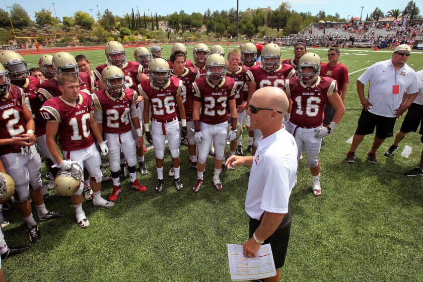Coach Chris Hauser's Mission Hills Grizzlies moved up to No. 1 in the prep football rankings.