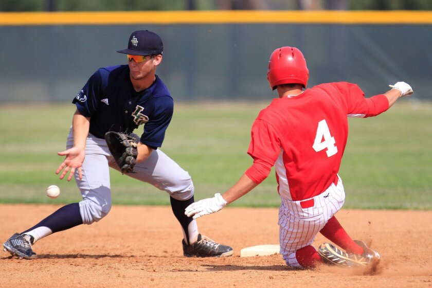 La Costa Canyon infielder Ryan McClure fields the throw as Cathedral Catholic's Michael Guerena slides into second base. The No. 3-ranked Mavericks defeated three top-five teams en route to winning the Hilltop-Lolita's Tournament championship.