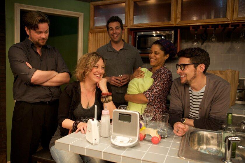 "Richard Baird, Courtney Corey, Matt Thompson, Judith Scott and Andrew Ableson in North Coast Repertory Theatre's ""This."""