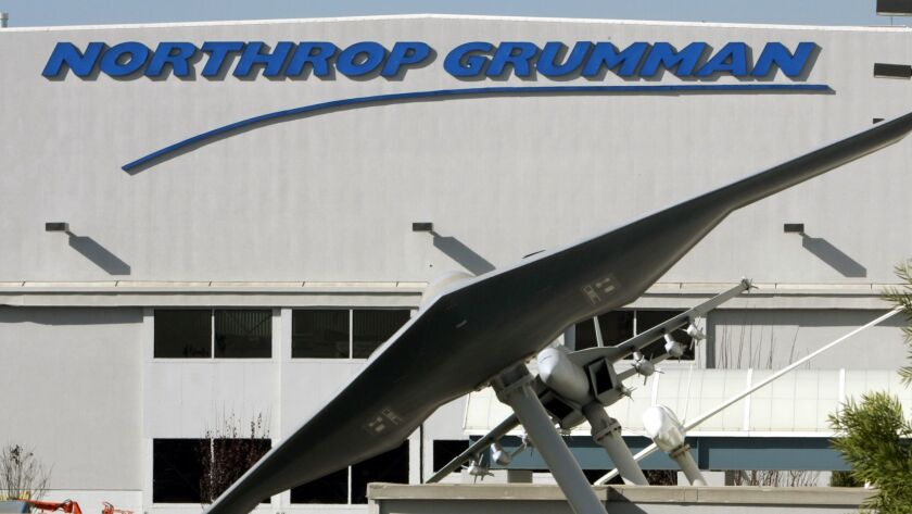 The Northrop Grumman plant in El Segundo with models of the B1-B Stealth Bomber and the F/A-18 Hornet fighter jet.