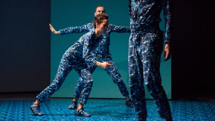 """A scene from """"Klein Paradiso,"""" a performance choreographed by Adam Linder at the Hammer Museum."""