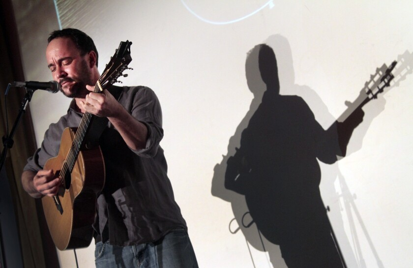 Dave Matthews, shown during a 2014 performance in West Los Angeles, will appear on Nov. 27 at DAR Constitution Hall in Washington and a benefit concert supporting protesters rallying against the four-state Dakota Access Pipeline project.