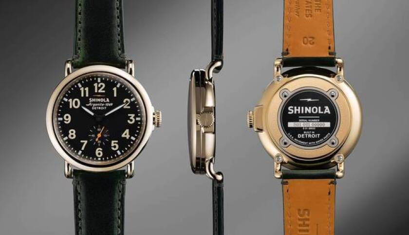 "The Shinola shoeshine brand is now applied to other products. Watches are proudly labeled ""Built in Detroit."""