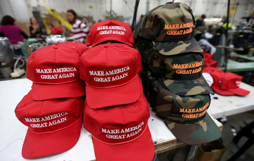 """Hats on the factory floor of Cali-Fame in Carson. The hat and apparel maker is best known for producing Donald Trump's """"Make America Great Again"""" caps."""