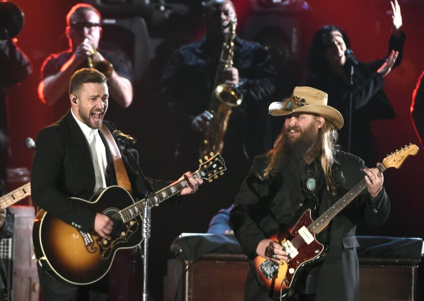 Justin Timberlake, left, and Chris Stapleton perform Wednesday at the 49th annual CMA Awards in Nashville.