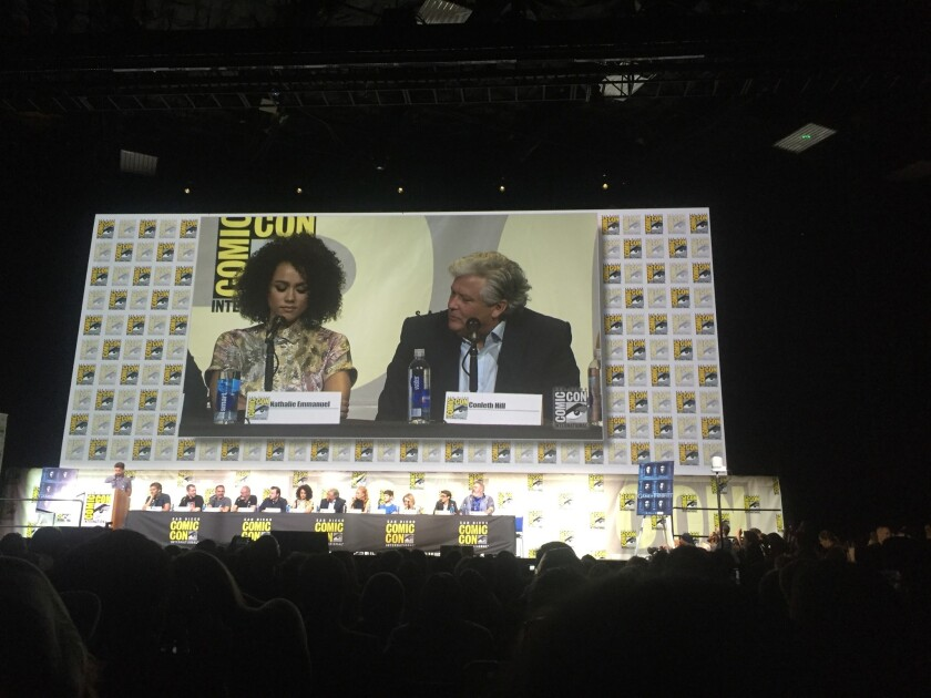 "Nathalie Emmanuel and Conleth Hill of ""Game of Thrones."""