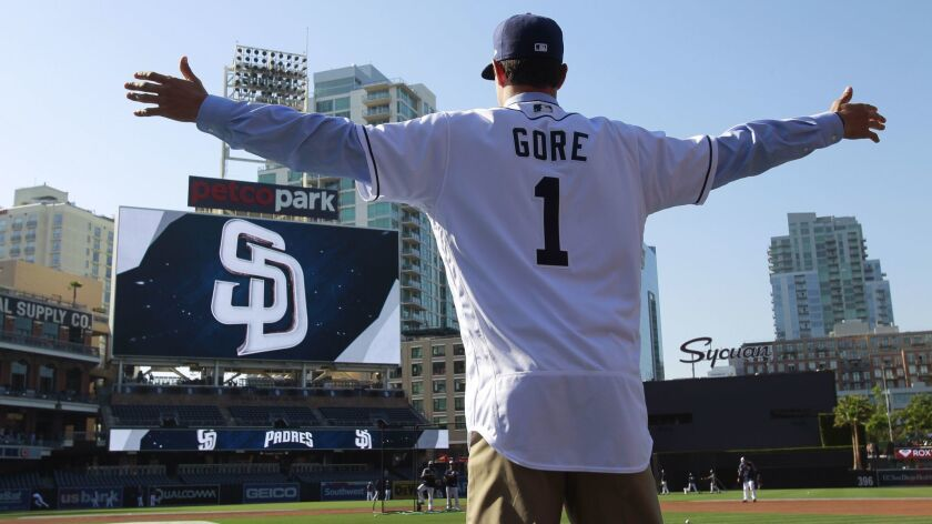SAN DIEGO, June 24, 2017 | Padres first-round selection MacKenzie Gore shows the back of his Padres