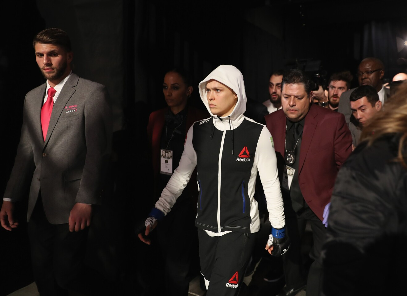 Ronda Rousey walks to the octagon to face Amanda Nunes for the women's bantamweight championship bout at UFC 207.