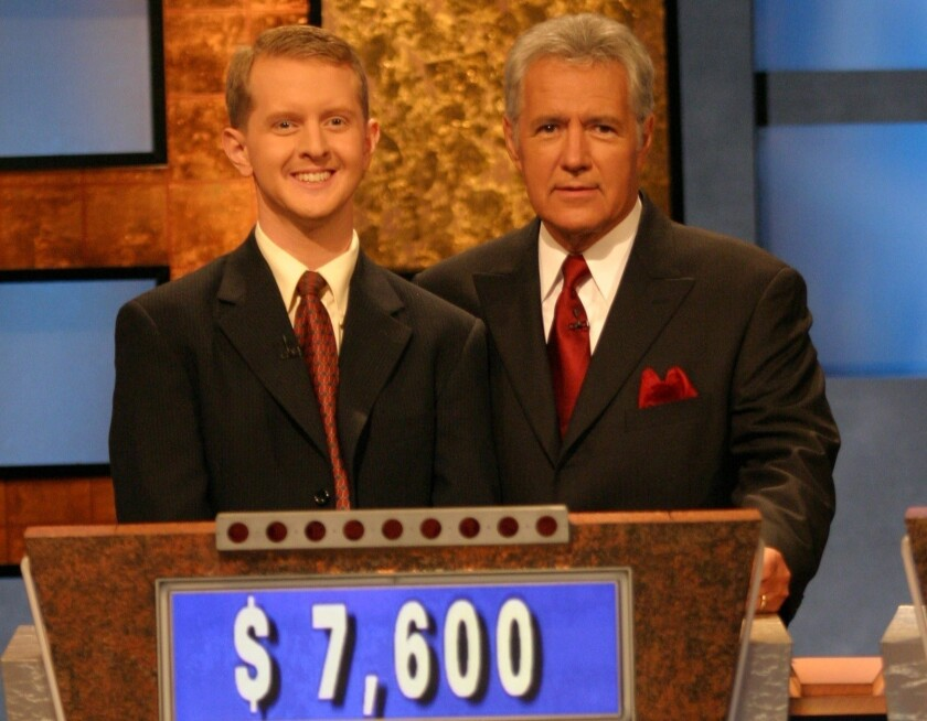 "Ken Jennings, left, with Alex Trebek on ""Jeopardy!"" in 2004."