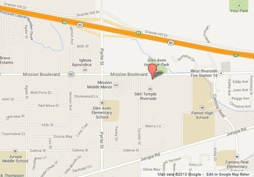Map shows location of Riverside Gurdwara, a Sikh temple that was vandalized overnight Monday.