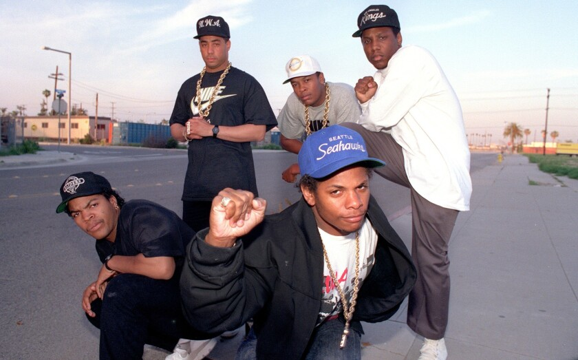 N.W.A members Ice Cube, clockwise from left, DJ Yella, Dr. Dre, MC Ren and Eazy-E are seen in 1989.