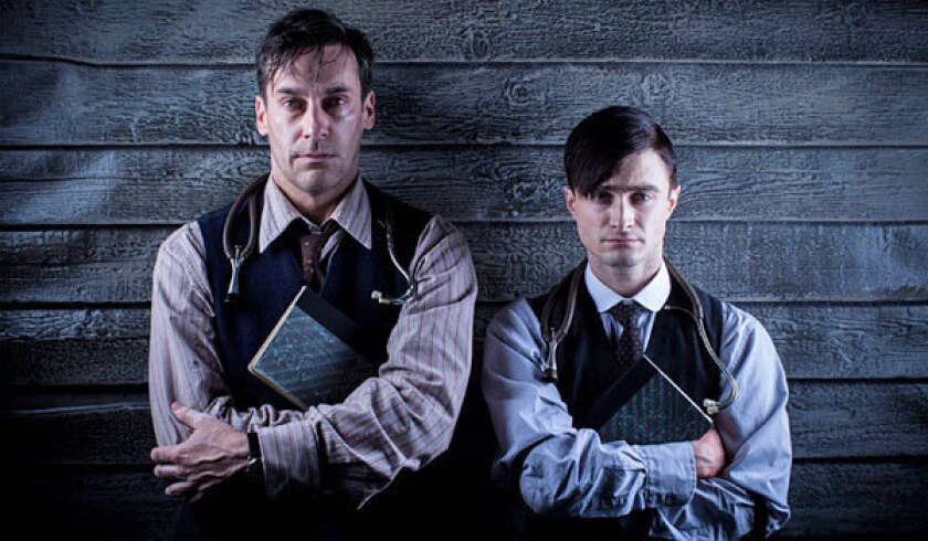 """Jon Hamm, left, and Daniel Radcliffe star in """"A Young Doctor's Notebook."""""""