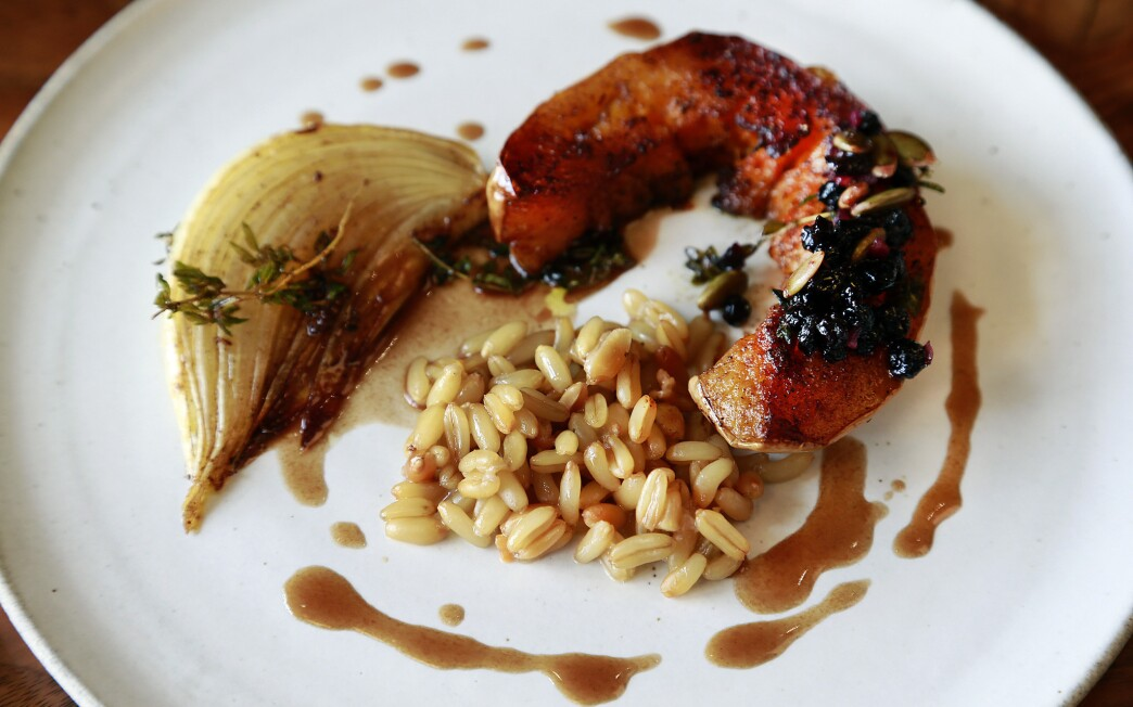 Caramelized winter squash with wheat berries, dried cherry relish and roasted onions
