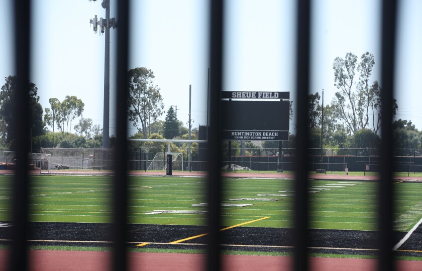 A closed Huntington Beach High School Cap Sheue Field is shown on Wednesday.