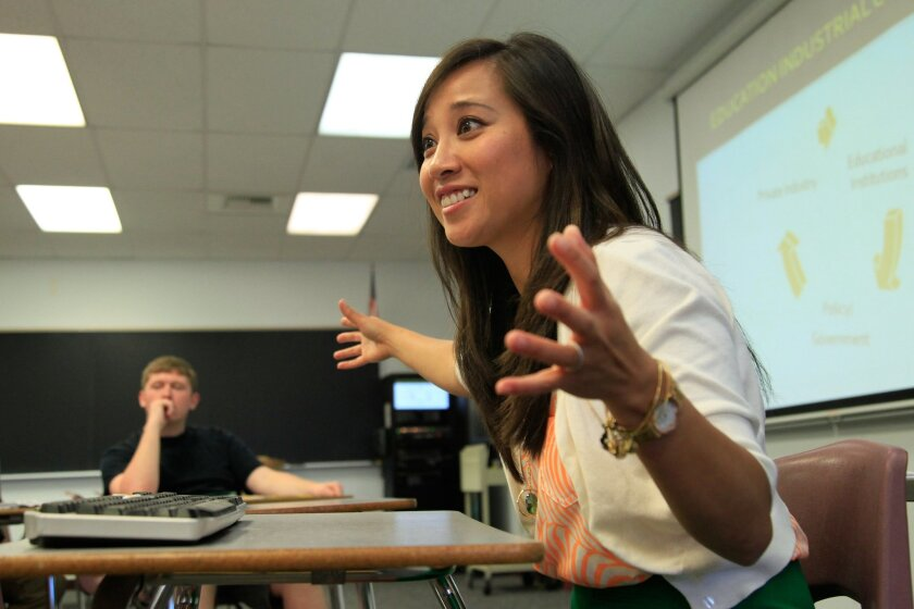 .Professor Thao Ha, 41, teaches an honors Introduction to Sociology class at MiraCosta College in Oceanside. Ha recently co-produced a documentary film based on her research on Vietnamese fisherman in the Gulf of Mexico who came here after the fall of Saigon..