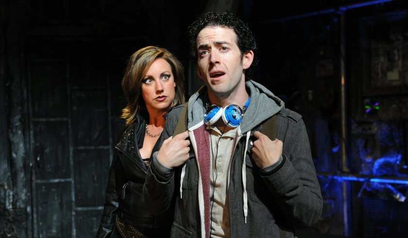 "Courtney Corey (left) and Louis Pardo in Diversionary Theatre's ""Pippin."""