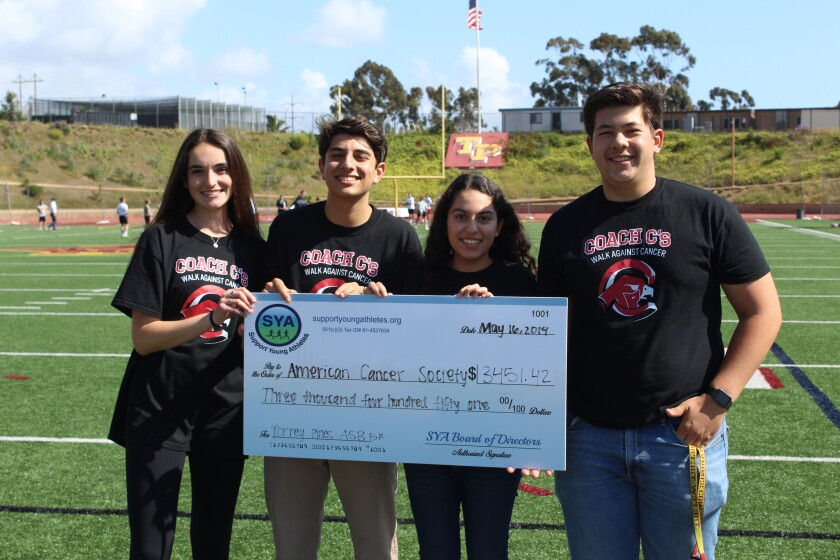 ASB President Lindy Byrne, Arie Bialostozky, ASB Relay-For-Life President Emily Roshan and Jake Noble.