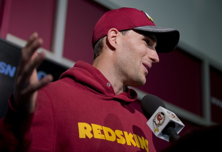 Washington Redskins' starting quarterback Kirk Cousins, speaks to reporters during a NFL football news conference at the Redskins Park in Ashburn, Va., Wednesday, May 25, 2016. (AP Photo/Manuel Balce Ceneta)