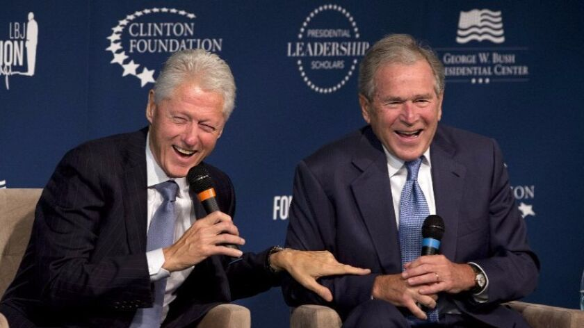 Former Presidents Bill Clinton and George W. Bush at the Presidential Leadership Scholars Program launch in 2014.