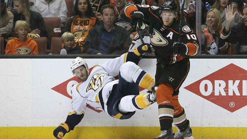 ANAHEIM, CA, SUNDAY, MAY 14, 20017 - Ducks forward Corey Perry checks Predators forward Austin Watso