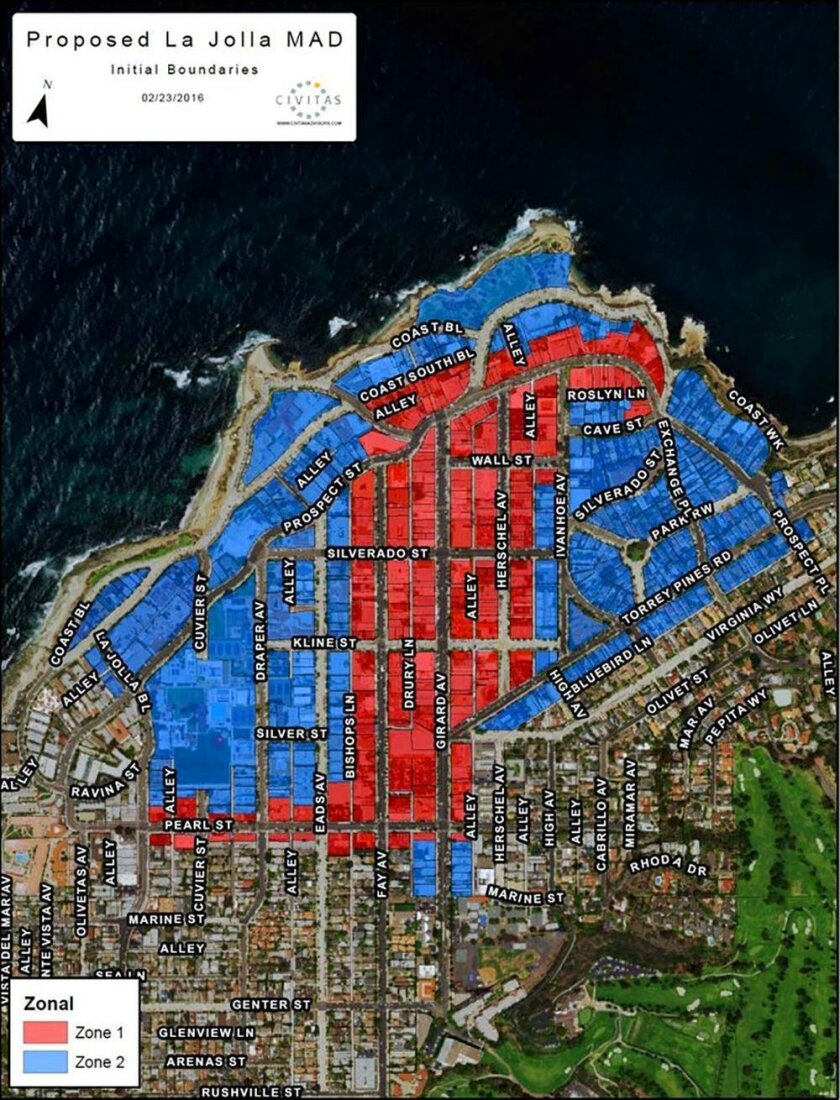 A map of the Commercial Zone (red) and Residential Zone (blue) in the proposed La Jolla Maintenanace Assessment District (MAD)