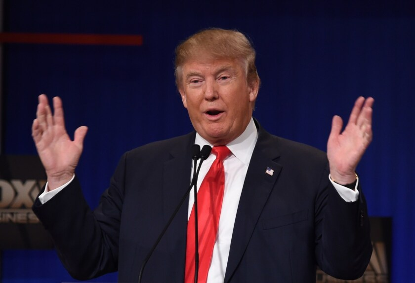 Republican presidential candidate Donald Trump is seen during the GOP debate Thursday in South Carolina.