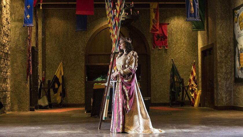 Alexa Moffo, as Queen Do–a Maria Isabella, poses for a photo at Medieval Times in Buena Park on Wedn