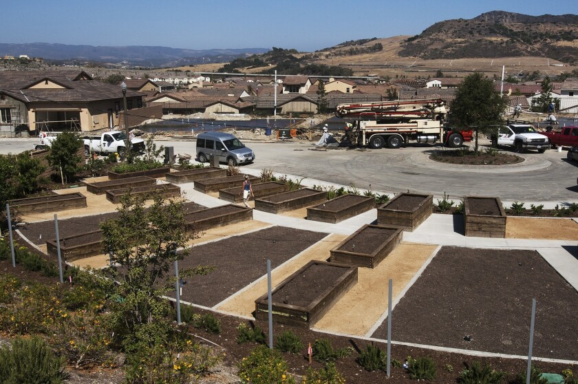 """Residents may participate in shared gardens at Rancho Mission Viejo, a new """"agrihood"""" development in south Orange County."""