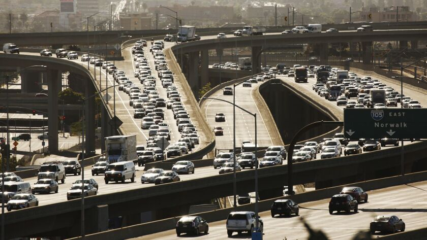 Heavy traffic on the 105 and 405 freeways in Los Angeles